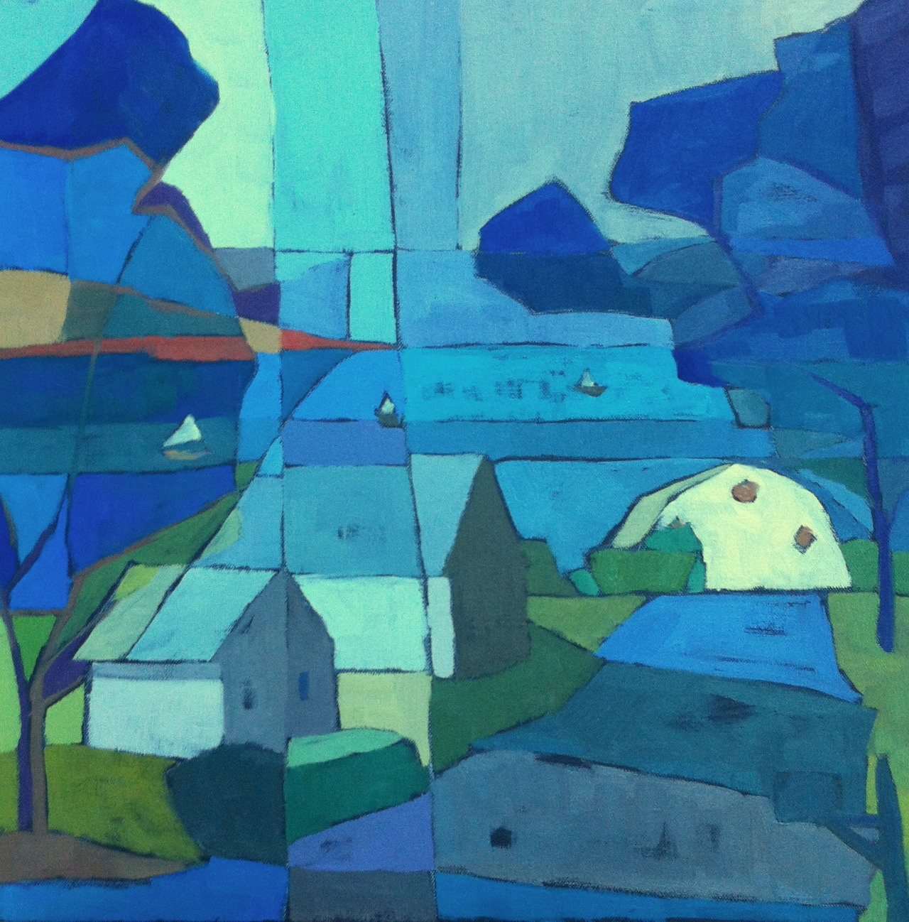 """""""Wellfleet Cottages and Boats"""" 18"""" x 18"""" oil on canvas. I did several smaller paintings of this before I was able to abstract the scene the way I wanted to."""