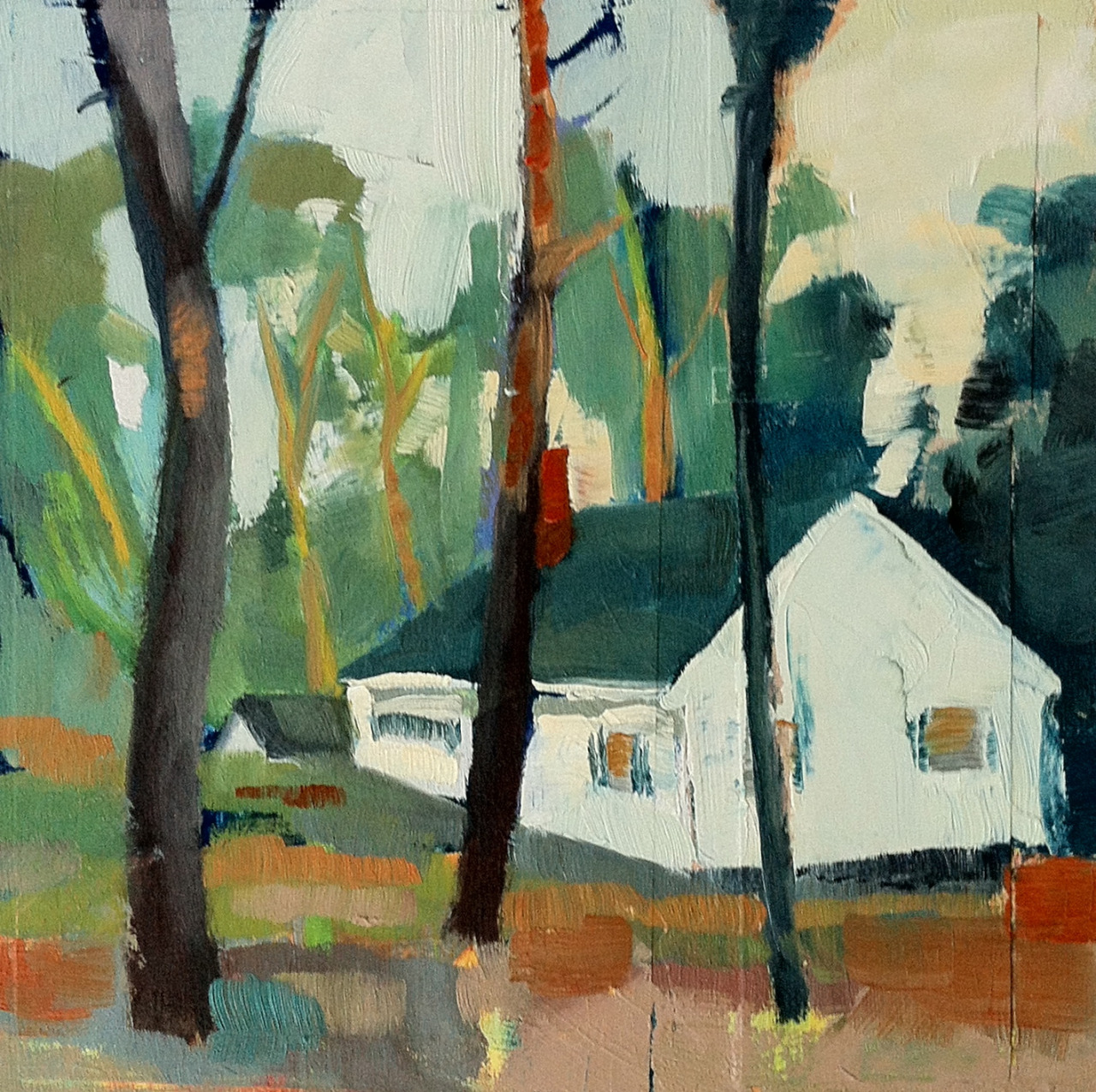 "8"" x 8"" mixed media on board.  I love these little cottages.  And of course the trees, always the trees."