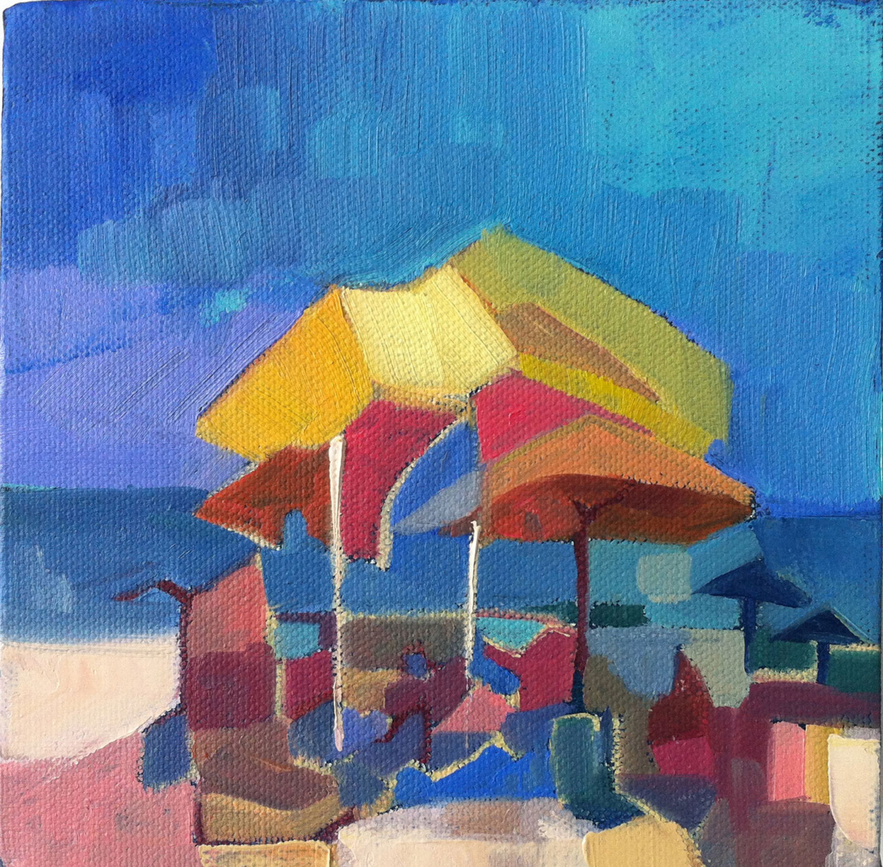 """Just a little painting… 6""""x6"""" oil on canvas. Abstracted Beach Umbrellas"""
