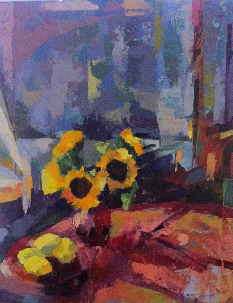 """Sunny Things, 16"""" x 20"""", oil on canvas. I had  my class  doing paintings of this set up and made them do it all in palette knife. It was a really fun exercise. They didn't have as much time as I did, and I did use brush as well as knife. After I finished, I realized this painting reminds me a lot of a larger piece I did a while back called  """"Mandarin Moon"""" ; the background mostly, but also the mark-making."""