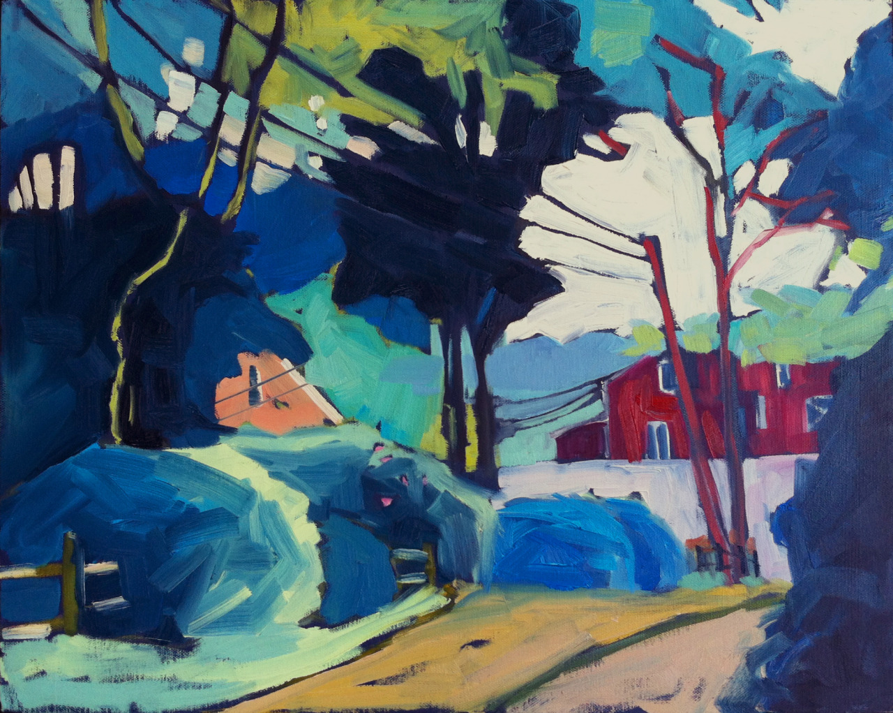 """Headed to the Harbor, 16""""x20"""", oil on canvas. This is another Wellfleet scene from last summer. Cottages tucked away behind the trees. Harbor buildings across the parking lot with water just beyond.   This painting will be for sale at the Cambridge School of Weston's """"Changing Lives with Art"""" fundraising auction. The auction is   on Saturday, April 27, 2013 in the Garthwaite Center for Science and Art."""