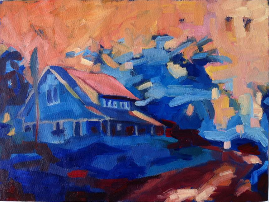 """Beach Bungalo, 9"""" x 12"""", oil on canvas."""