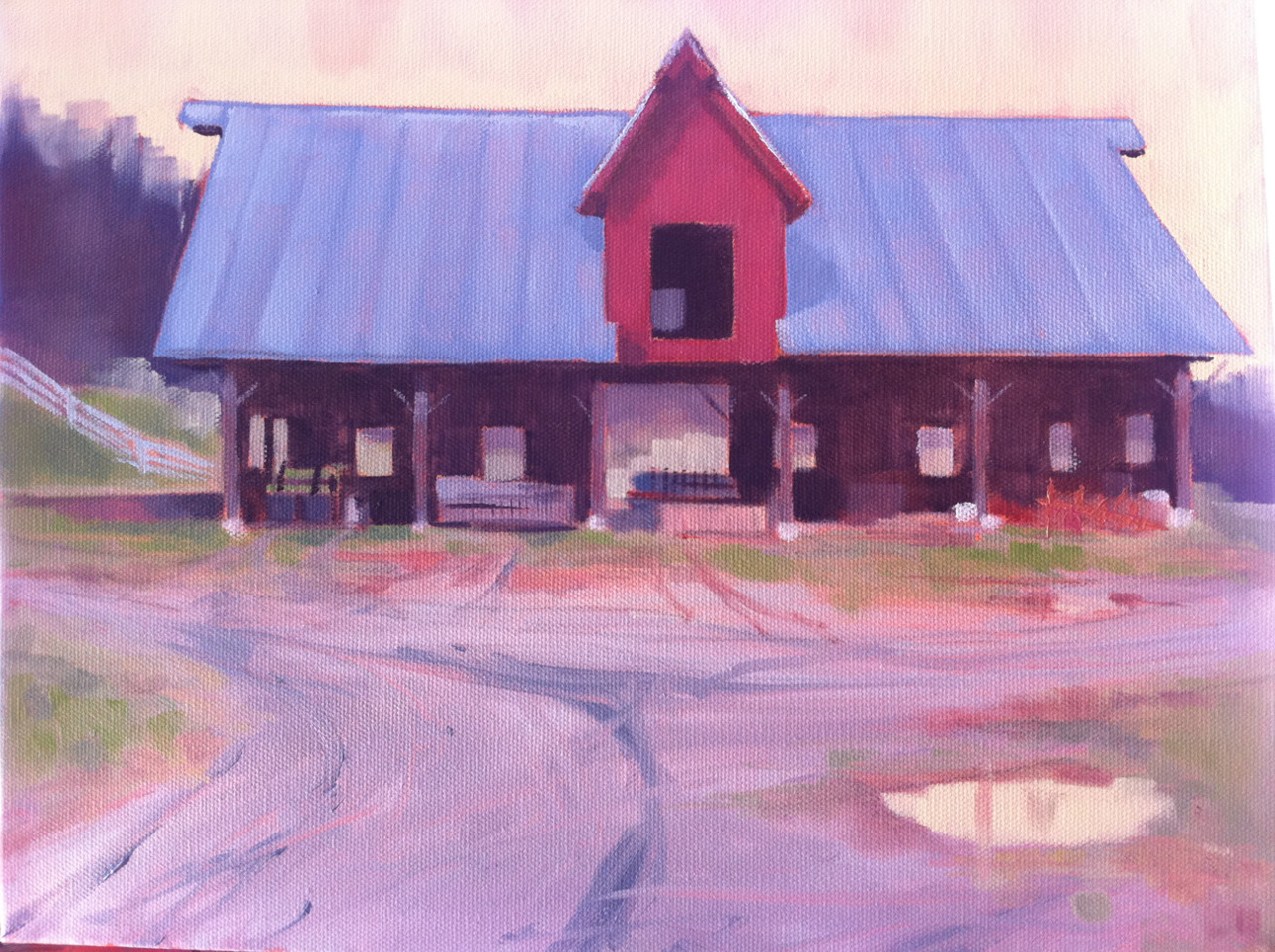 One on-going series is Vermont barns, structures and landscapes. Culled from visits to the Warhols and Slattery. This is Slattery's tractor shed. Nice shed! Open doors or open sides of these structures are a lot like the markets in Europe that I've painted. There is a suspended volume of shadow in the composition that grounds it, and if there is a window to the light of the landscape beyond then the space of the overall composition is extended that much more.