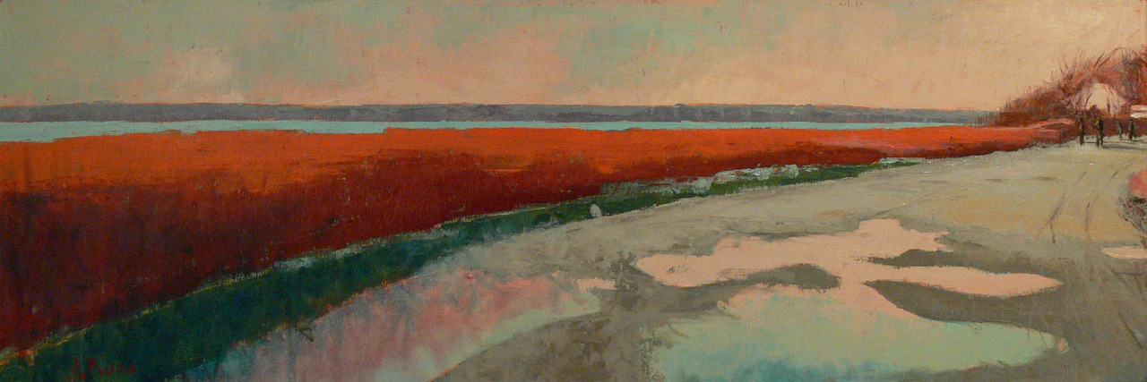 """Oil on canvas 12"""" x 36"""". I'm continuing to explore horizontal compositions. This is from a walk after an autumn family dinner at my sisters house in Jamestown RI. The afternoon light in the cove there is always unique so I usually bring my camera in hopes of catching something special. The rutty dirt road provided an array of water filled shapes reflecting the light of the sky."""