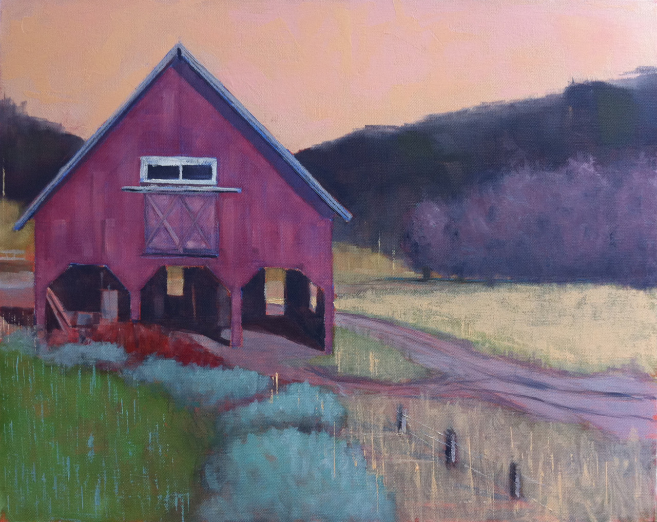 "A 16 x 20 Barn and Landscape called ""Barn Portrait""  It's showing at Studio Hop in Providence right now.  If you are anywhere near Studio Hop on Hope Street you should stop in.  A great place to shop for and see all kinds of art.  That section of Hope Street is also really great for restaurants and cafes."
