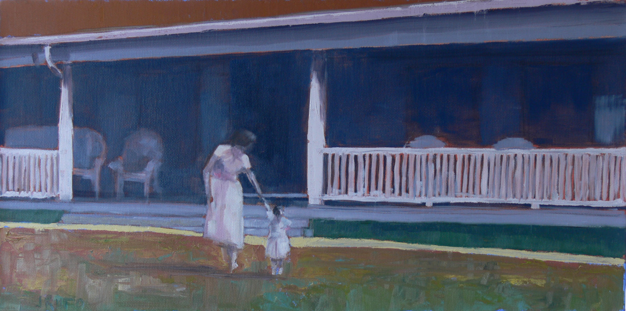"This is the first finished oil of the ""Home Movies"" series.  This is my Mom and sister Tina in 1951 when she was just learning to walk.  Stay tuned for more on this theme…and Happy Holidays to all!"