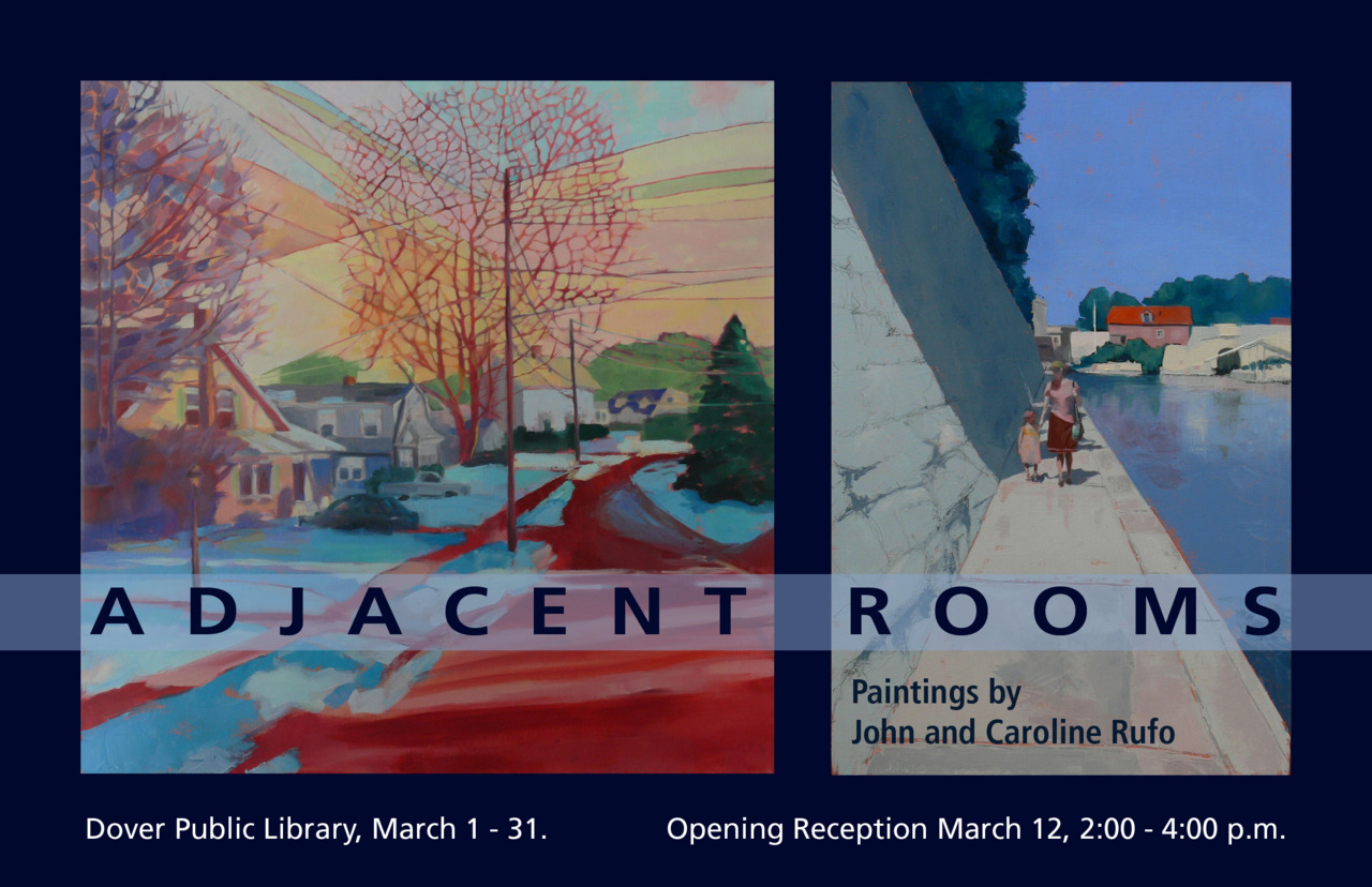 You are invited to the artists' reception, March 12, from 2:00 - 4:00 at the Dover Public Library.  Please come by and say hello.  The work will be up for the month of March.
