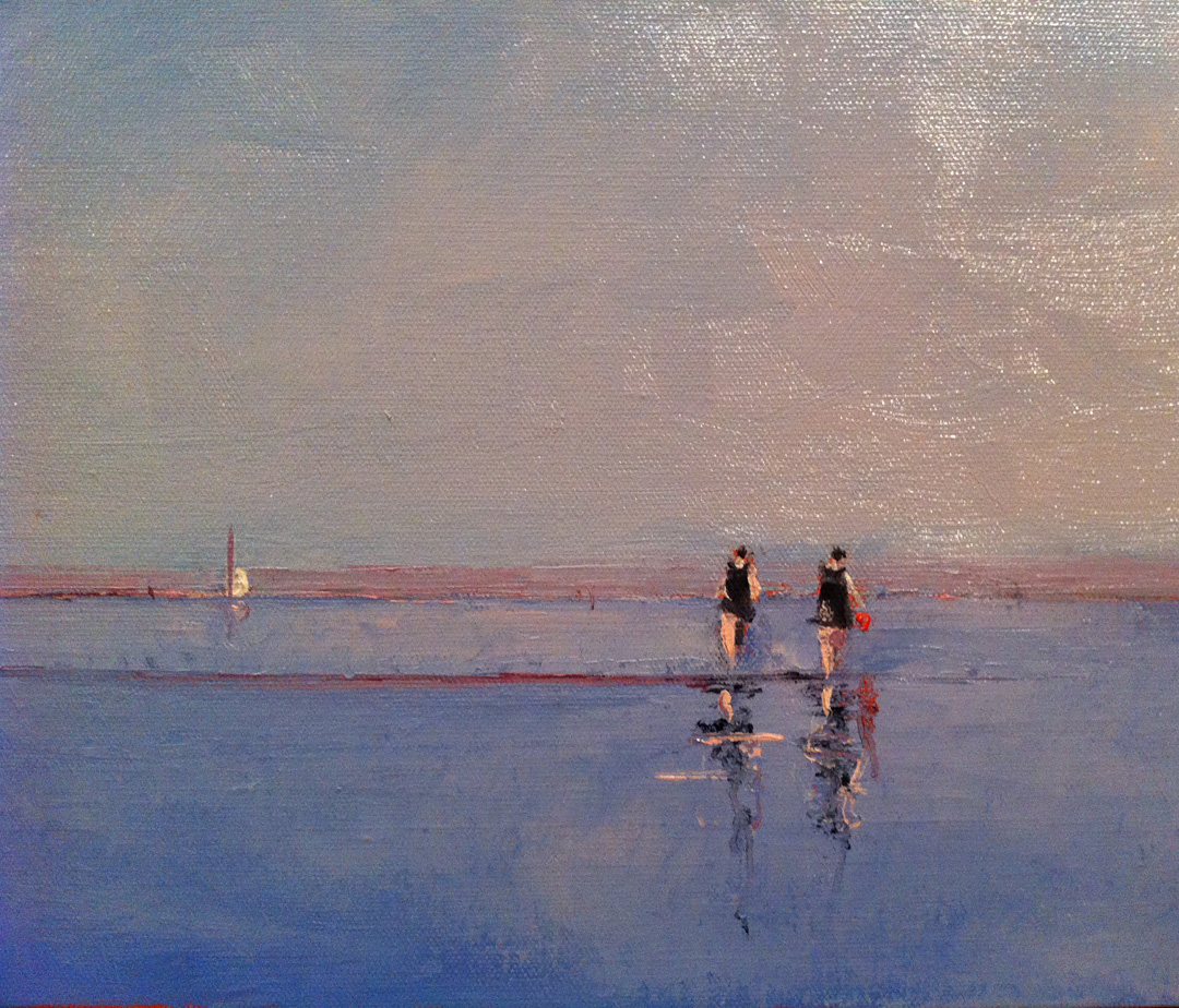 "This is a thumbnail of a piece entitled ""Old Friends"".  It's actually a very horizontal 10"" x 30"".  It's now at the Page Waterman Gallery.  Our show there has been going well.  We've sold a lot of work and they've given us another week!  Still plenty of work there so stop by if you get a chance."