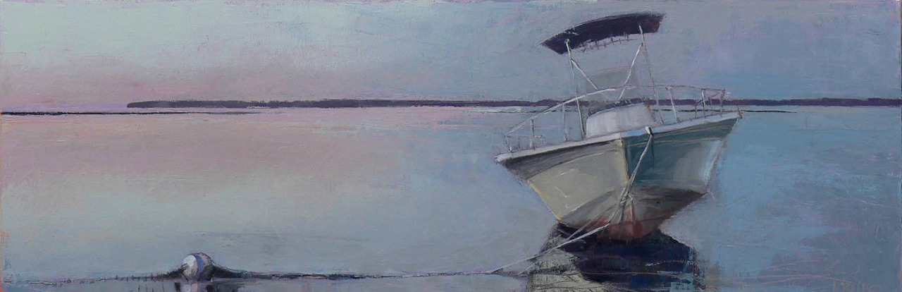 This is one of the pieces that will be up at the opening in Belmont this evening.  It's one of a series of three landscapes that experiment with a horizontal, 12 x 36 composition.  I did this one while on the cape this summer.