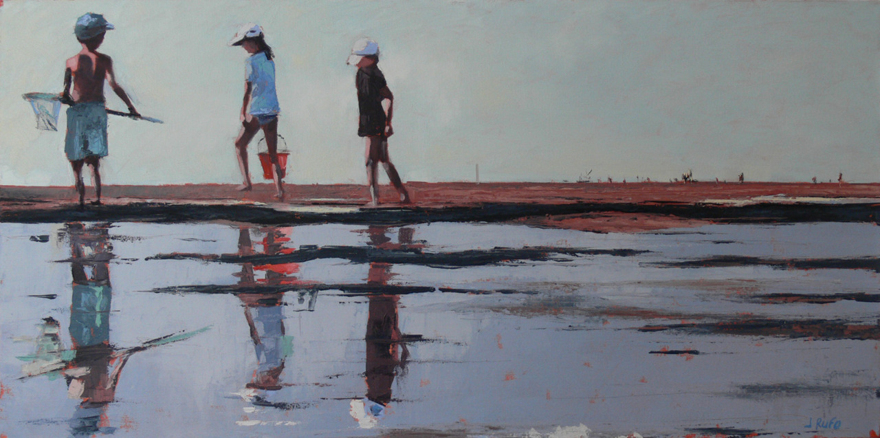This is another in the 18 x 36 series focusing on beach landscapes. It starts with a very low view point, placing the horizon line at approximately the kids shins to try to catch the essence of the Brewster Flats at low tide.