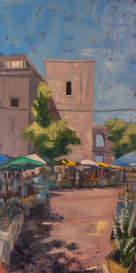 This is a market in Split Croatia. I've been working on markets again recently. This one I did specifically to be hung on the wall of my new office. The simple presence of the umbrellas in this setting change the spirit of the place from one of a medieval city relic to a place of commercial and social transaction.