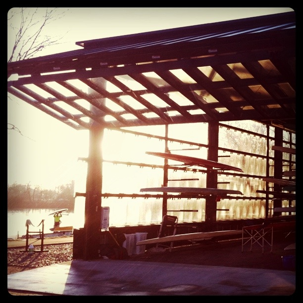I've been getting down to the river early in the morning on my bike in the last two weeks. This is looking toward the river through the glass wall and open door of the Community Rowing Boathouse… and a Little help from Instagram…