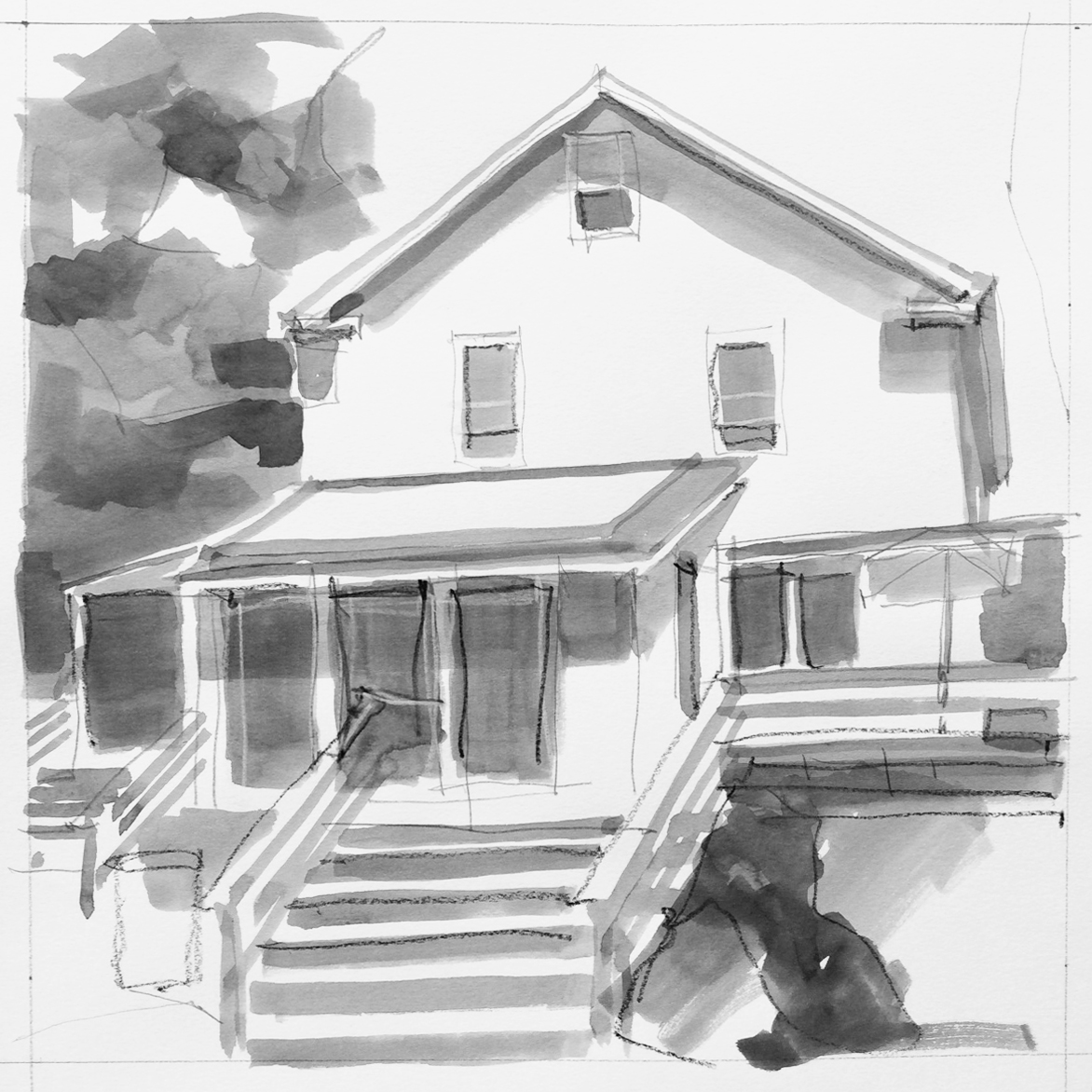 Ink, graphite and China marker sketch of a friends house in Needham. Maybe it will have a little addition on it soon?…