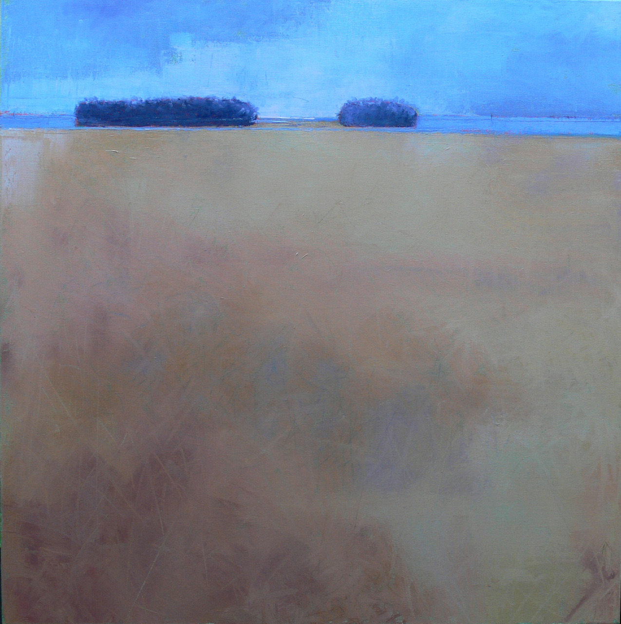 """36"""" x 36"""" oil and oil pastel on canvas. At this size the detail at the horizon line becomes far more important as a vehicle to establish scale."""