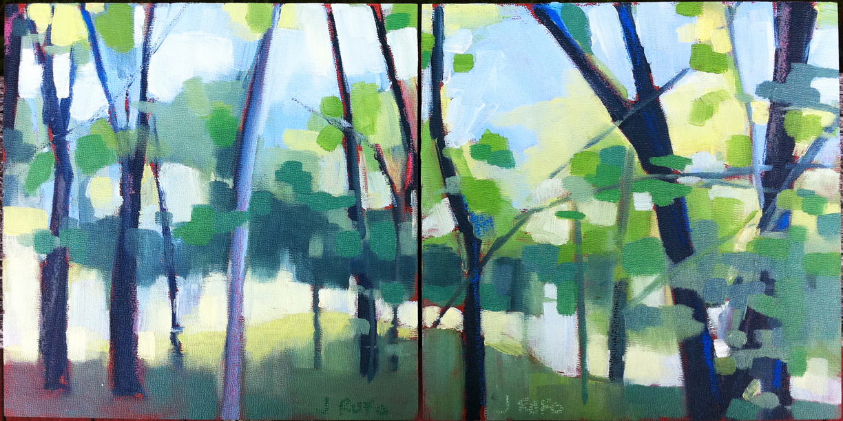 """Approaching The Meadow""  Another diptych.  8 x 16 oil on board.  I'm running with this theme for the moment - Light through the trees or light indicating a space beyond.  There hasn't been much time to paint lately but we're headed to the cape on the 11th for a couple of weeks of brain regeneration.  I'm hoping that it yields some new work on this theme."