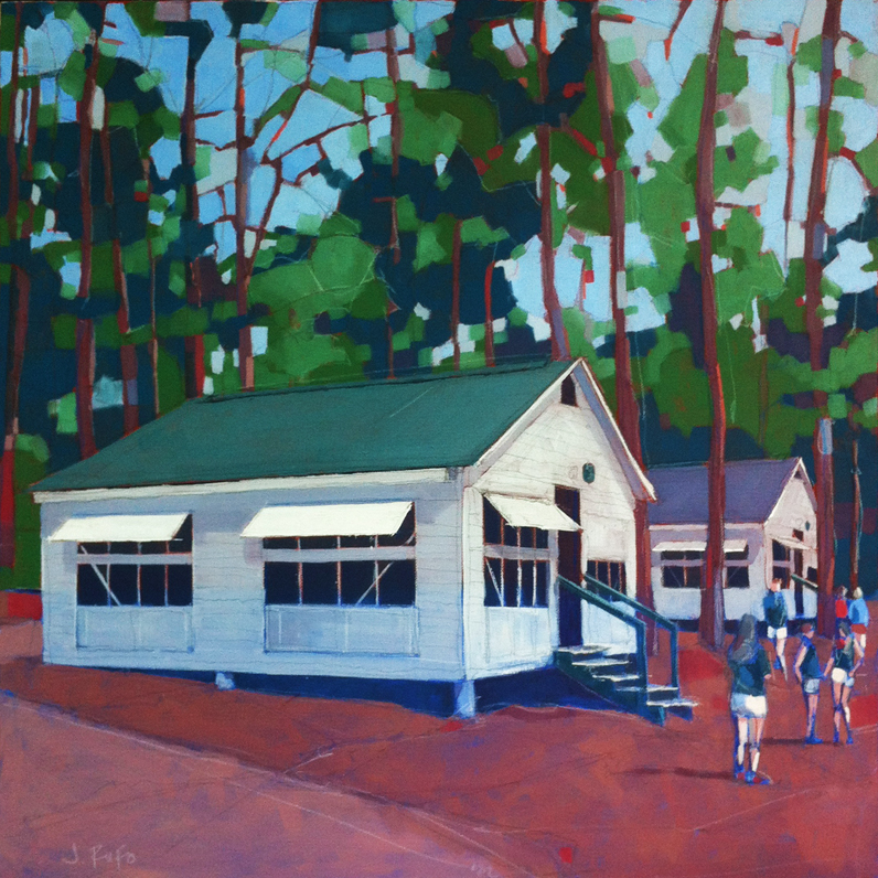 """Cabins"" 24 x 24 Oil on Canvas  was done for Camp Nellie Huckins  in Freedom NH on Lake Ossipee.  Huckins is a girls summer camp that is part of the YMCA system.  Alice and Lucy go every summer for two weeks.  This painting will be shown all summer long on change days and will be raffled off to raise money for the camp.  Also, on an ongoing basis, I will be donating 10% all of the sales from any of the other  Huckins Paintings  on the Rufo Art website http://www.rufoart.net/john/.  Enjoy and have a fabulous summer everyone!"
