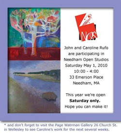 Needham Open Studios is the first week of May.  Come by on Saturday and see all the new work!