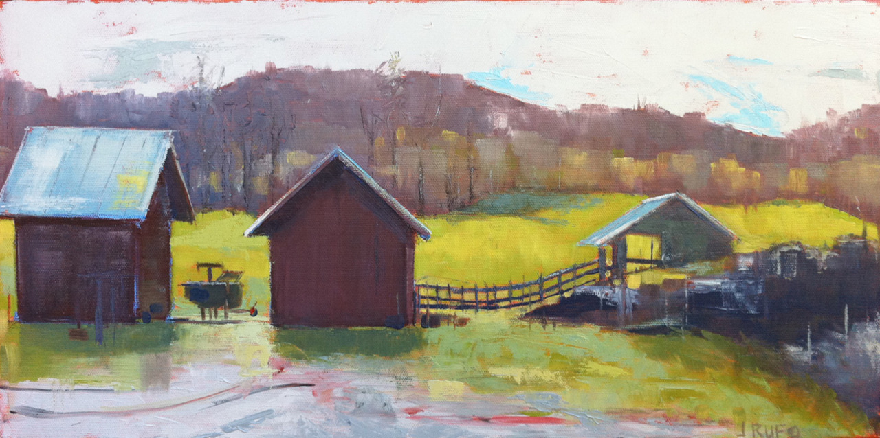 A new barn painting.  The space between, behind and passing through is really the subject.