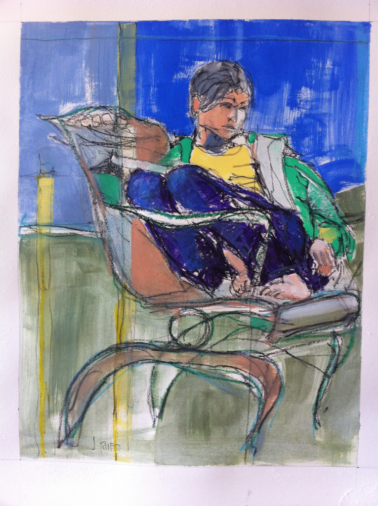 """""""Girl Distracted"""" - Oil, oil pastel and grease pencil on paper."""