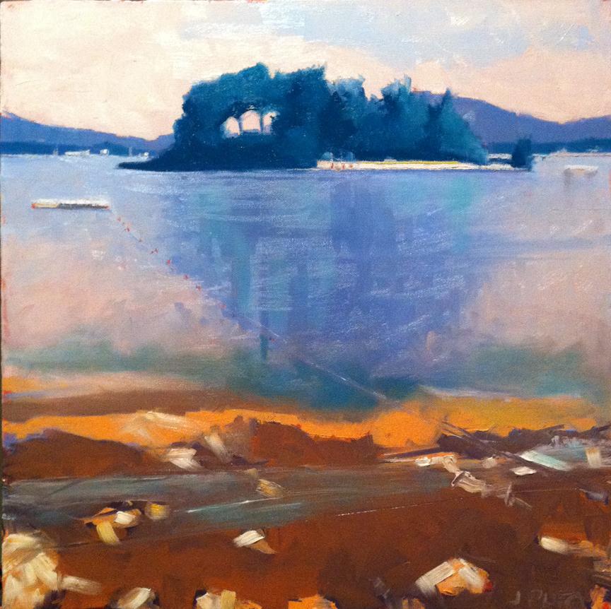"Blue Island - Oil on canvas, 18"" x 18"""