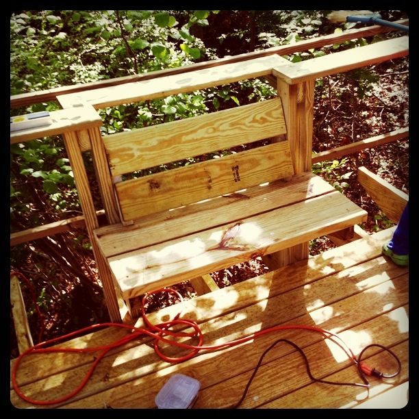 The treehouse reading bench…