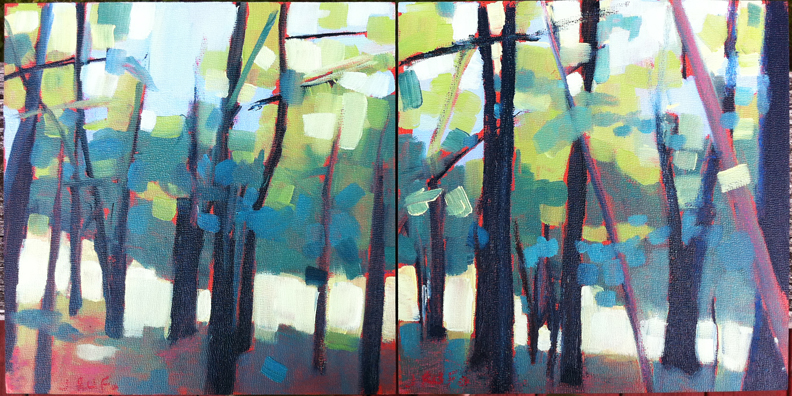 """Pulling Us Closer"":  This is a diptych inspired by the view from the kids new tree house.  It's 8 x 16 oil on board."