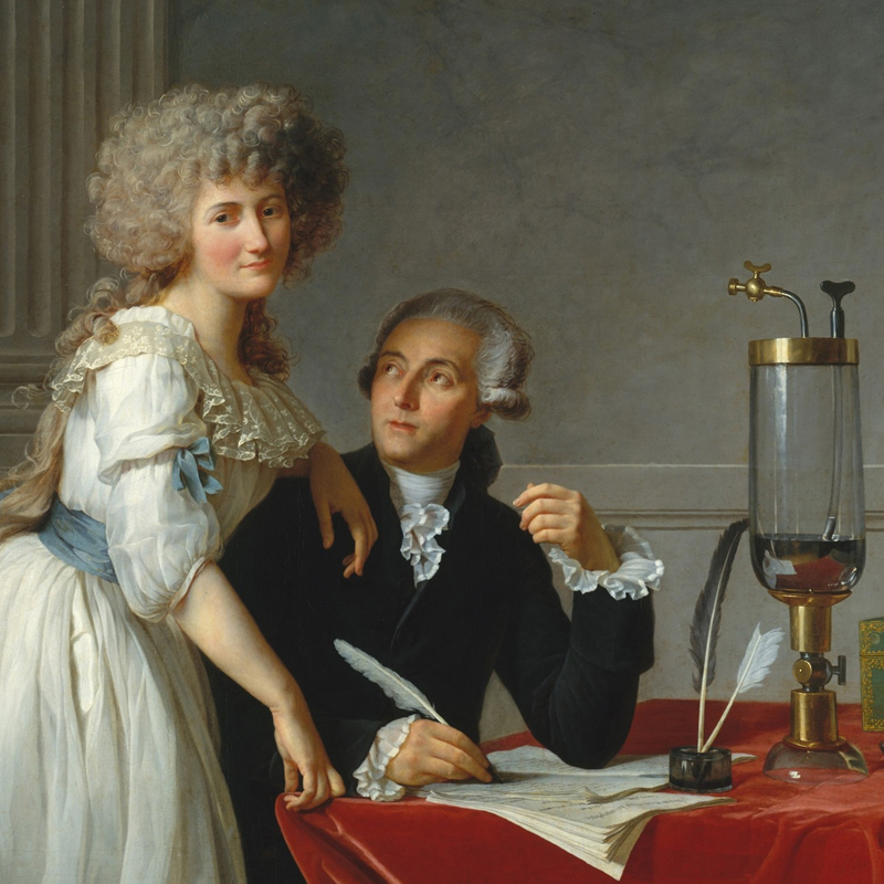 Marie-Anne Lavoisier with her husband, Antoine