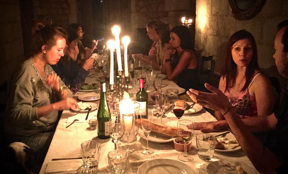 Dinner in the long hall at Château de Clérac