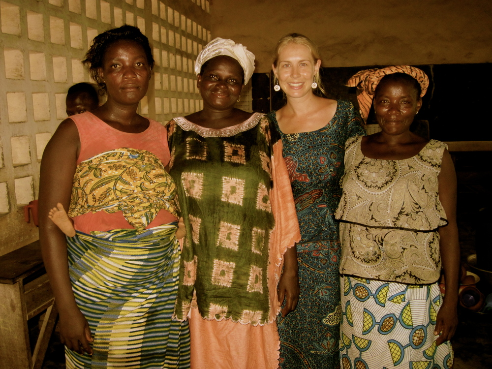 My friend Catherine (center left) and I with two women from the community health worker training I hosted.
