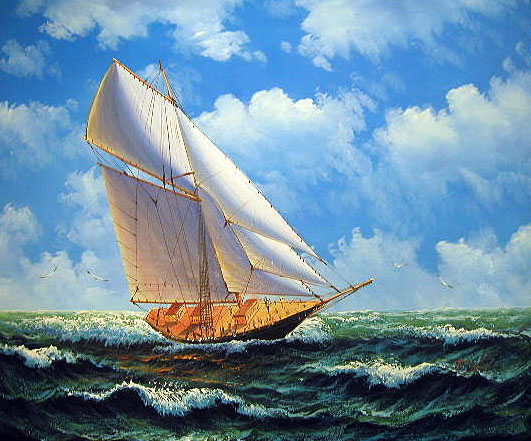 Clipper Ship Painting by Tod