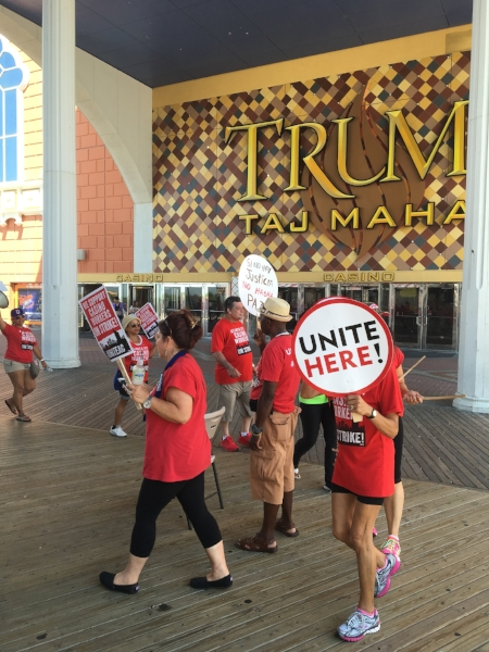 Workers striking in front of the Taj Mahal in Atlantic City