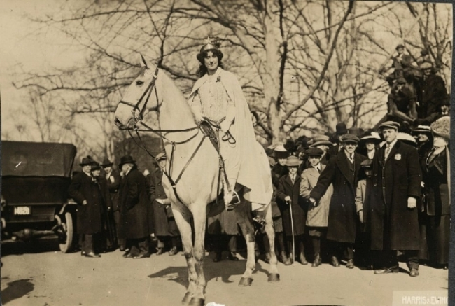 Inez Milholland Boissevain preparing to lead the March 3, 1913, suffrage parade in Washington, D.C. Harris & Ewing. 1913.