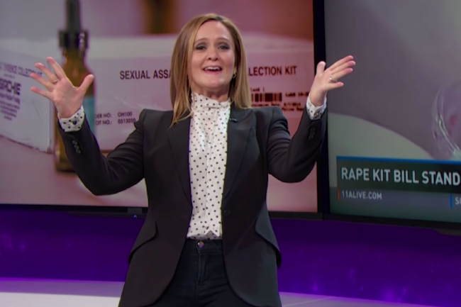 "Samantha Bee sporting a piece from her notorious blazer collection on ""Full Frontal with Samantha Bee"", source: TBS. Lead us to the feminist fashion promise land Samantha Bee!"