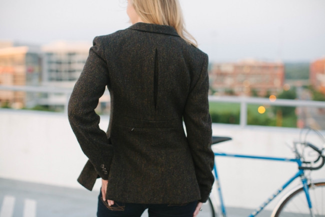 Riding Jacket looks out over Durham, NC. Photo courtesy of Jessica Arden Photography