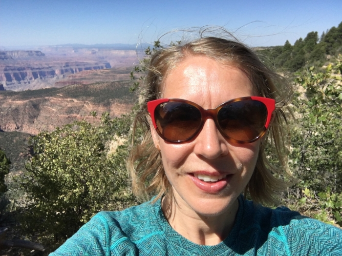 Sweaty betty selfie in front of the Grand Canyon.