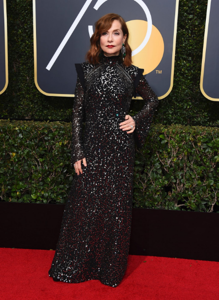 Isabelle Huppert at the 75th annual Golden Globe Award.  Photo credit: Jordan Strauss/AP