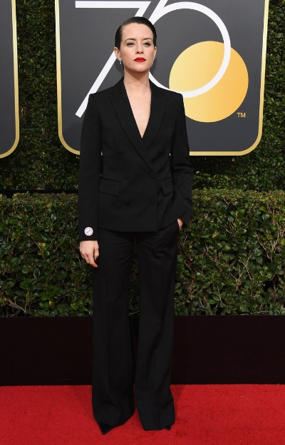 Claire Foy at the 75th Golden Globes. Photo credit: Kevork Djansezian/NBC
