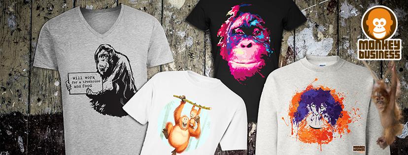 Voorbeelden van onze Monkey T-shirts