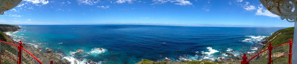 Panorama from a lighthouse on the Great Ocean Road
