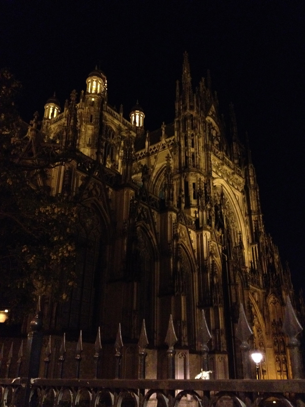 Saint John's Cathedral at night in downtown Den Bosch.