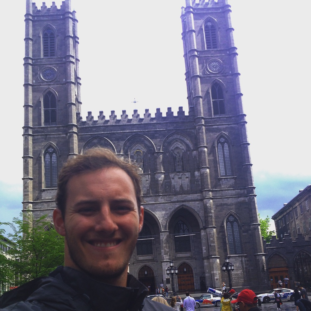 Selfie in front of the Notre Dame Basilica of Montreal