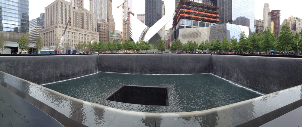 The infinity pool memorial of the South Tower of the World Trade Center. A similar pool sits in the location where the North Tower, the first tower struck during 9/11.