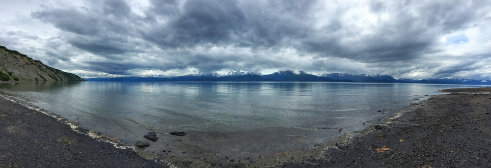 View of the Kachemak Bay from the end of our hike in Homer