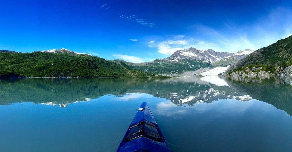 My favorite picture from Alaska. Reflection off the water and the view from my kayak