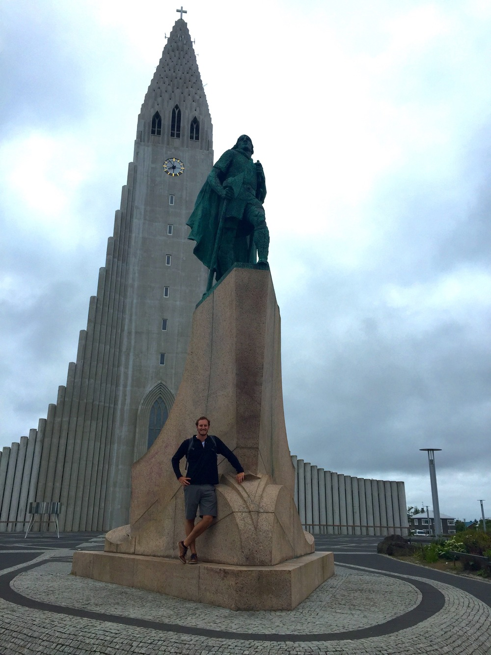 Hallgrimskirkja, the tallest point in Reykjavik, and me in front of the Leif Erikkson statue, an early Viking explorer of the Americas and Icelandic resident.
