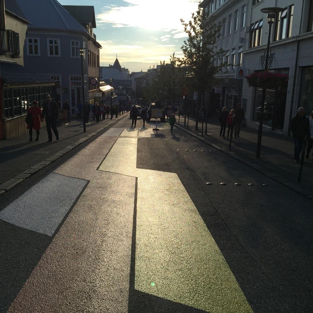 The 10 P.M. sun along the main shopping street in Reykjavik