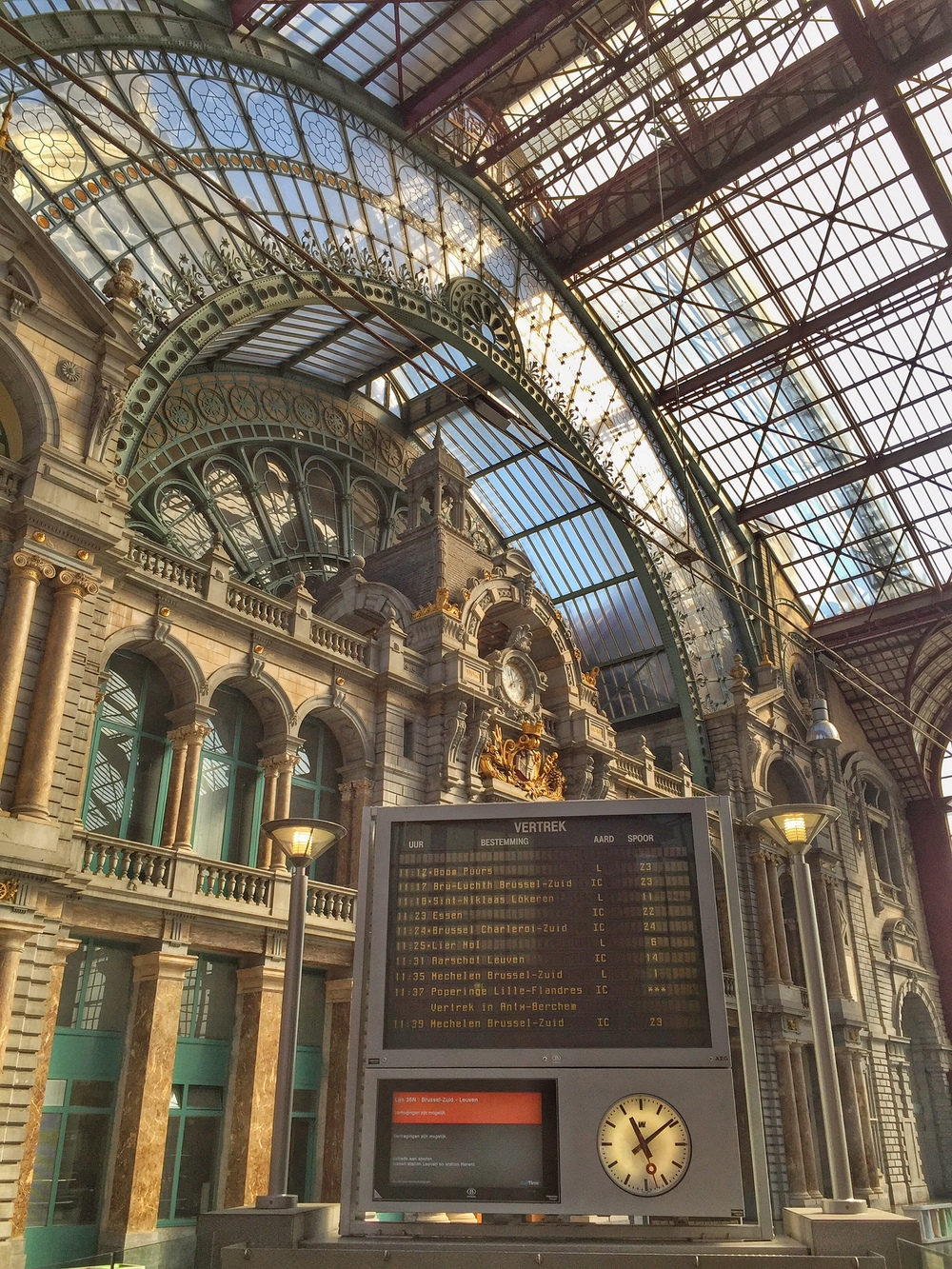 The train station in Antwerp. Rated as one of the most beautiful stations in the world.