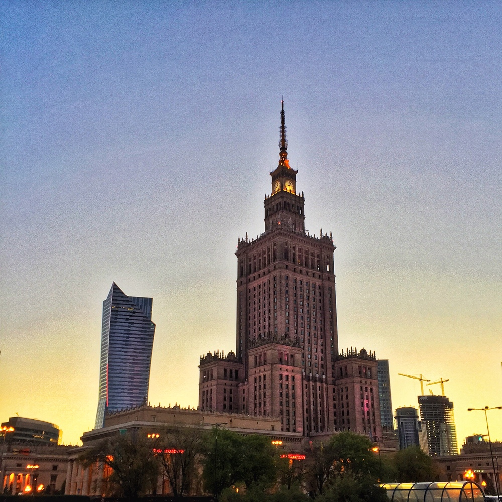 Downtown Warsaw by night