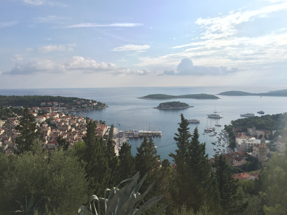 Hvar and the coastal island from above