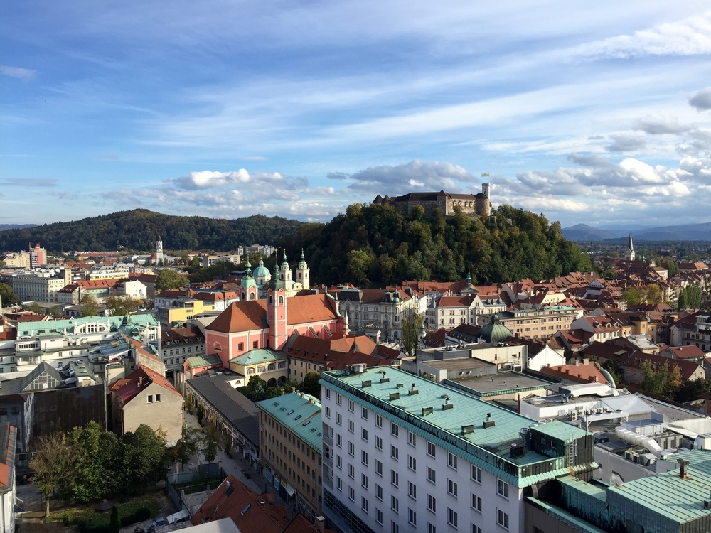 View of Ljubljana and the castle from above